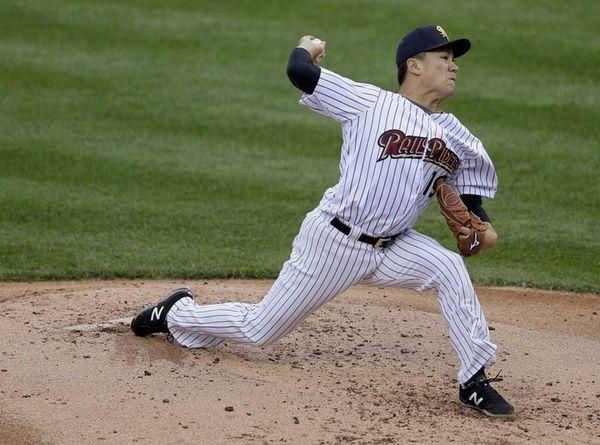 Yankees pitcher Masahiro Tanaka, playing for the Triple-A