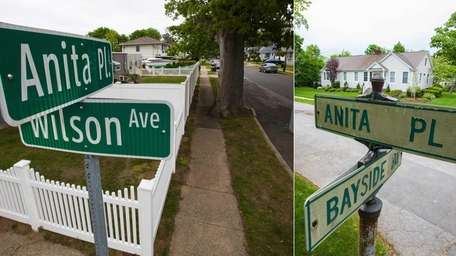 The streets Anita Place in Amity Harbor, right,