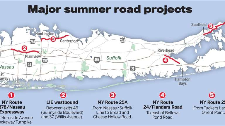 Roadwork is planned on sections of five major