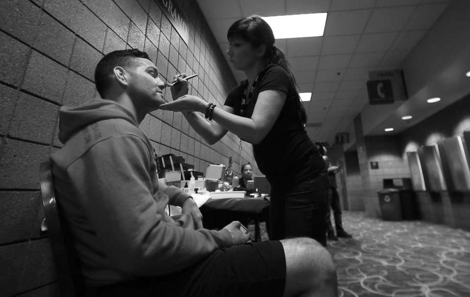 UFC middleweight champion Chris Weidman gets his makeup