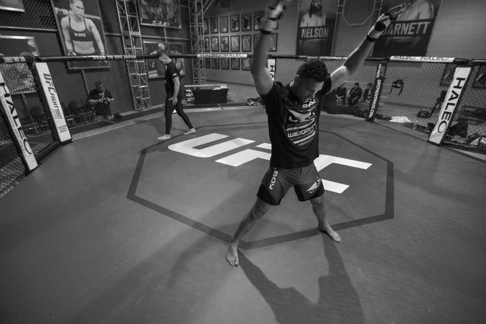 UFC middleweight champion Chris Weidman loosens up to