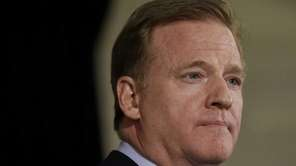 NFL commissioner Roger Goodell speaks to reporters during