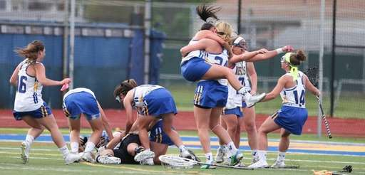 West Islip celebrates after defeating Northport in the