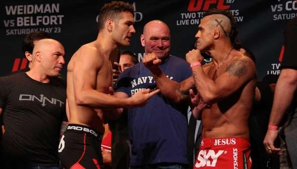 UFC middleweight champion Chris Weidman and challenger Vitor Belfort at the UFC 187 weigh-ins on Friday, May 22, 2015, at the MGM Grand in Las Vegas. The fight happens Saturday. (Newsday/Jeffrey Basinger and Mark La Monica)