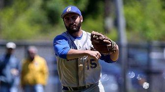 Comsewogue third baseman Dan Colasanto makes the throw