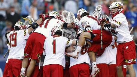 Maryland celebrates a win over Johns Hopkins during