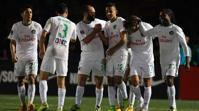 New York Cosmos midfielder Leo Fernandes #22 celebrates
