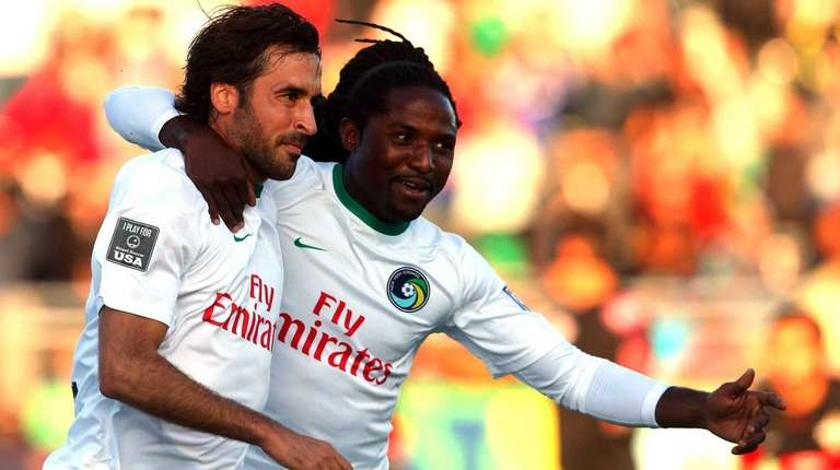 New York Cosmos forward Raul #7 reacts with