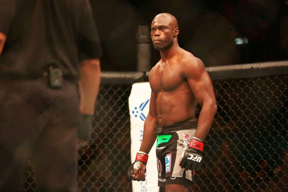 Middleweight Uriah Hall of Queens stares down fellow