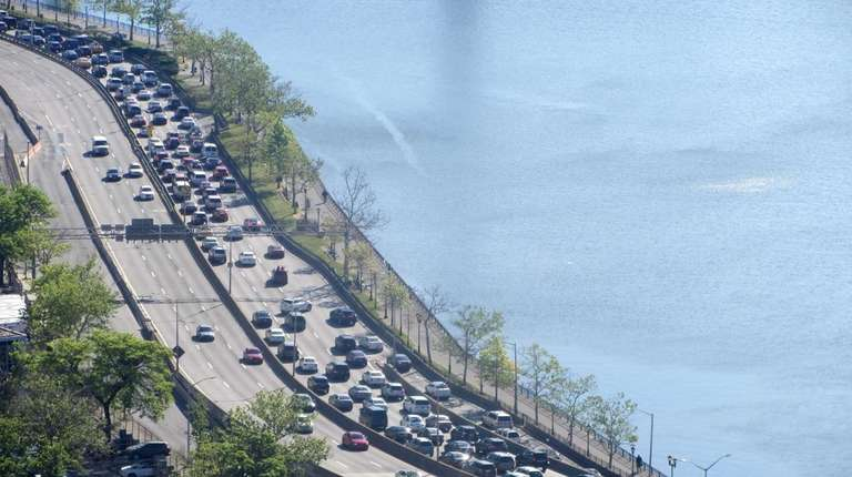 Traffic headed north on the FDR Drive is