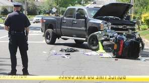 Police investigate the scene of an accident involving
