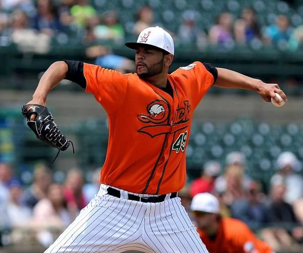 Long Island Ducks starting pitcher Andrew Barbosa delivers