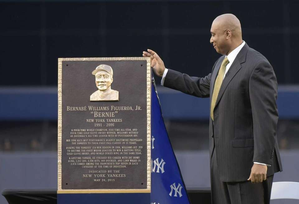 Former New York Yankees centerfielder Bernie Williams looks