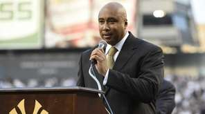 Former New York Yankees centerfielder Bernie Williams speaks