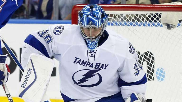 Ben Bishop #30 of the Tampa Bay Lightning