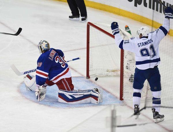The Tampa Bay Lightning's Steven Stamkos celebrates after