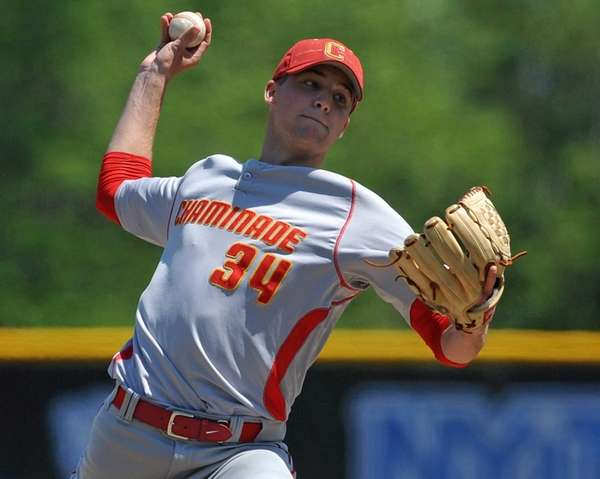 Chaminade starting pitcher Frank Sommers delivers to the