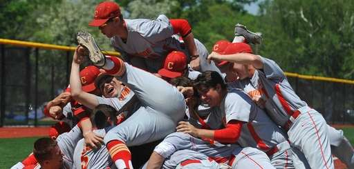 Chaminade players celebrate after a 10-0 championship-clinching win