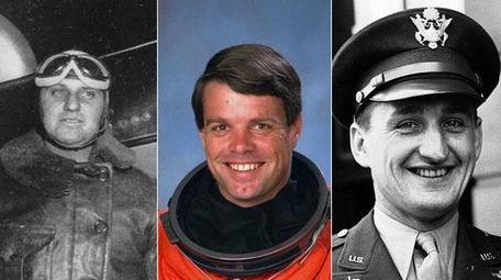 Newsday cofounder Harry Guggenheim; astronaut Kevin Kregel, who