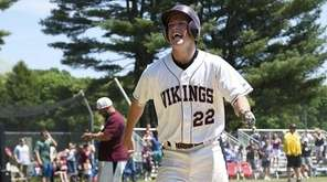 North Shore leftfielder Jack Aughavin (22) comes home