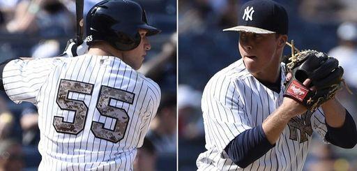 The Yankees' Slade Heathcott, left, hit his first