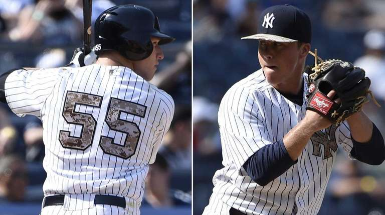 The Yankees' Slade Heathcott, left, hit his first