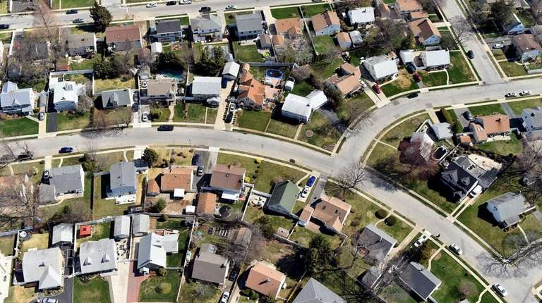 Aerial view of homes in Levittown on April