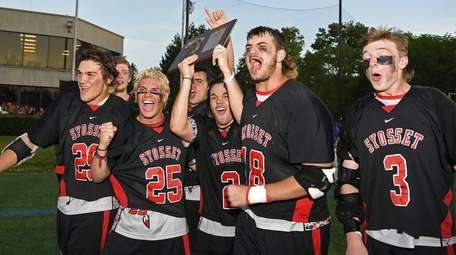 Syosset captains celebrate after receiving their Nassau Class