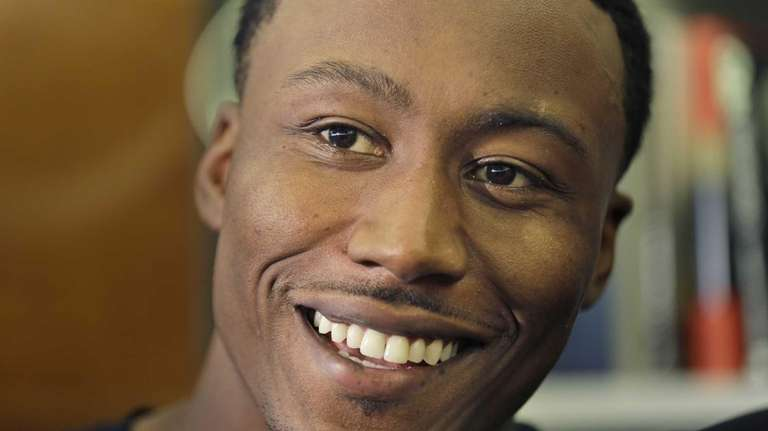 New York Jets wide receiver Brandon Marshall speaks