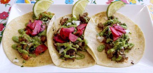 Traditional style tacos -- pork, shrimp and carne