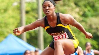 Uniondale's Crystal Green won the 400-meter hurdles at
