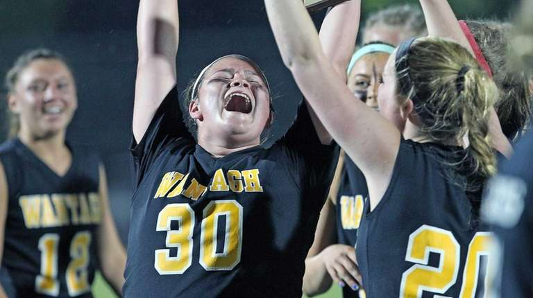 Wantagh goalie Grace Breshlian celebrates after beating Manhasset