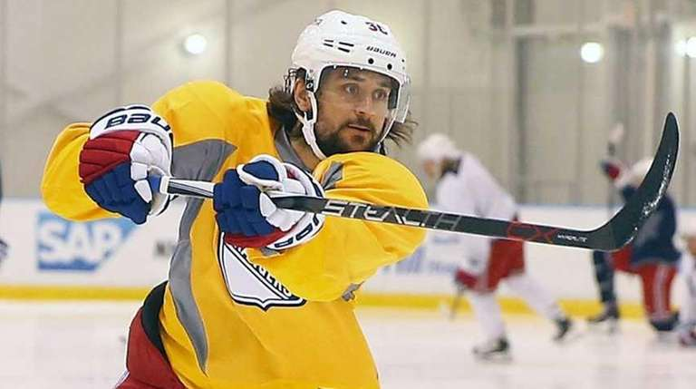 Mats Zuccarello of the Rangers skates during practice