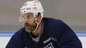 Dan Boyle of the Rangers skates during practice