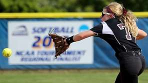 Clarke second baseman Holly Romeo makes the backhanded