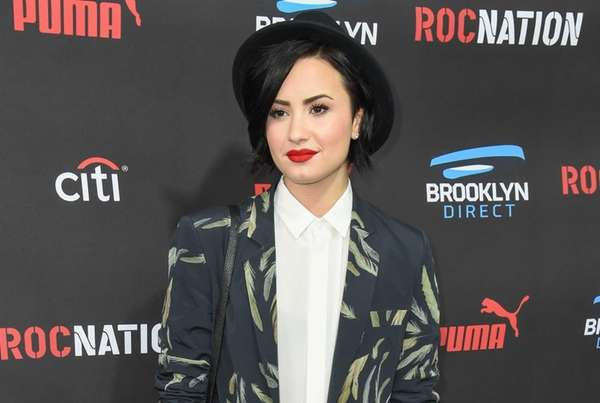 Demi Lovato arrives at the Roc Nation Pre-Grammy
