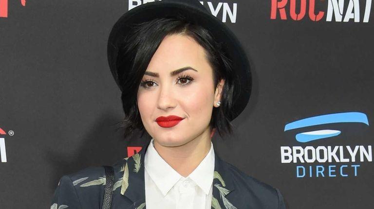 Demi Lovato arrives at the Roc Nation Pre-Grammy