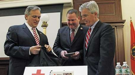 Nassau County Executive Ed Mangano, left, and Suffolk