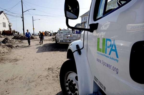 A Long Island Power Authority truck is seen