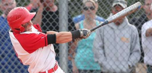 Connetquot's Aaron Gagliano hits a double to right-center