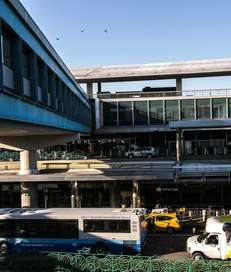 LaGuardia Airport's central terminal is seen in this