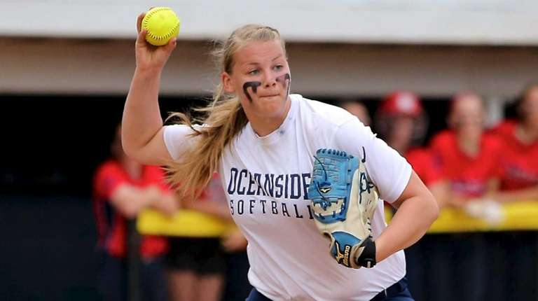 Oceanside pitcher Sabrina Seeger grabs the MacArthur ground
