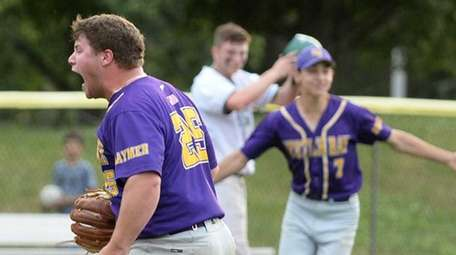 Oyster Bay's Stephen Spiegel reacts after striking out