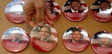A button featuring Republican presidential hopeful and Sen.