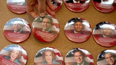 A button featuring Republican presidential hopeful and Sen.