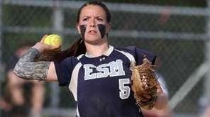Eastport-South Manor's Marissa Rizzi fields a ball hit