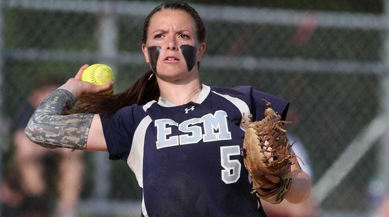 Eastport-South Manor's Marissa Rizzi fields a ball hit