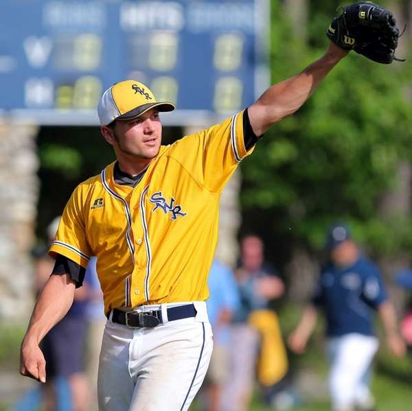 Shoreham-Wading River pitcher Matt Fox raises his arm