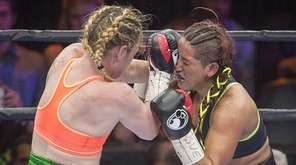Heather Hardy (blond hair) of Brooklyn fights in