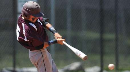 North Shore shortstop Nick Lucchese drives in a